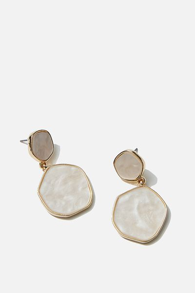 Luxe Layers Mop Circle Statement Earring, GOLD