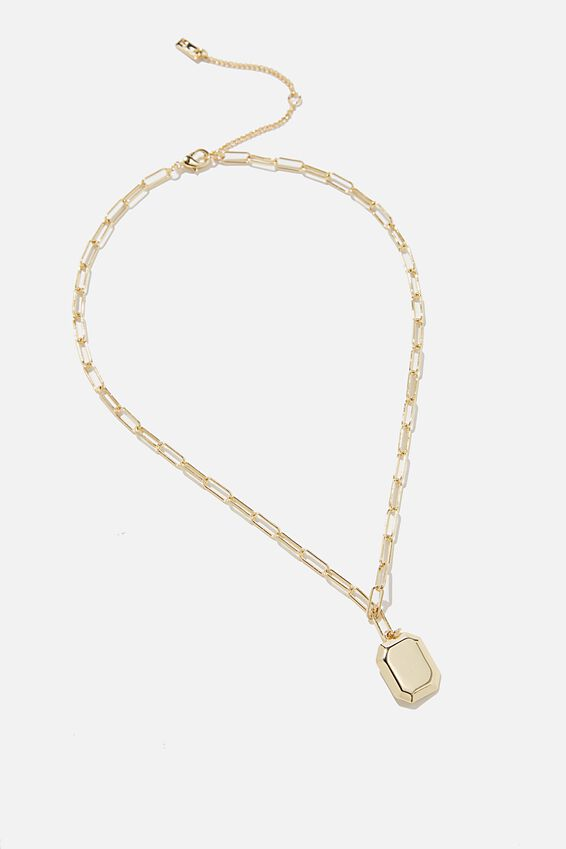 Premium Forever Necklace, GOLD PLATED TAG MID WEIGHT CHAIN