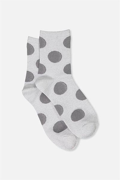 Dot The Spot Sock, SILVER METALLIC