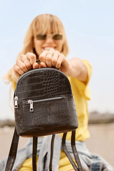 Cara Mini Backpack, BLACK CROC PRINT