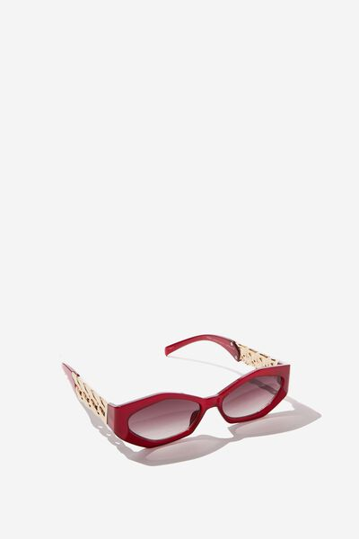 Jodie Chain Detail Sunglass, GOLD/RED