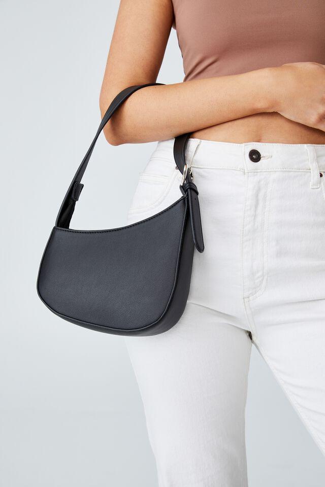 Angular Shoulder Bag, BLACK