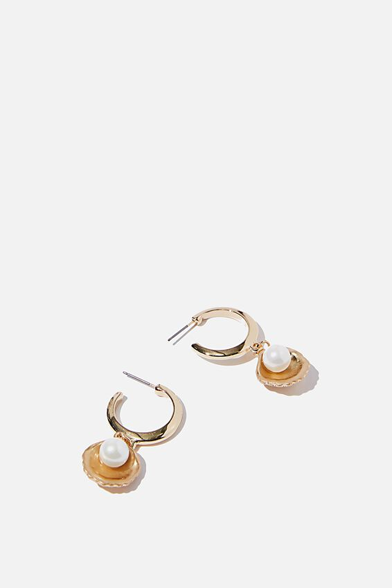 Open Shell Pearl And Gold Hoop Earring, GOLD/PEARL