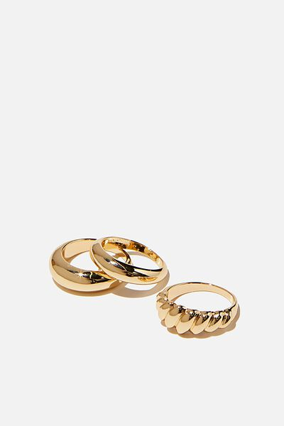 Brighter Days Ring Set, PLAIN AND TWIST GOLD