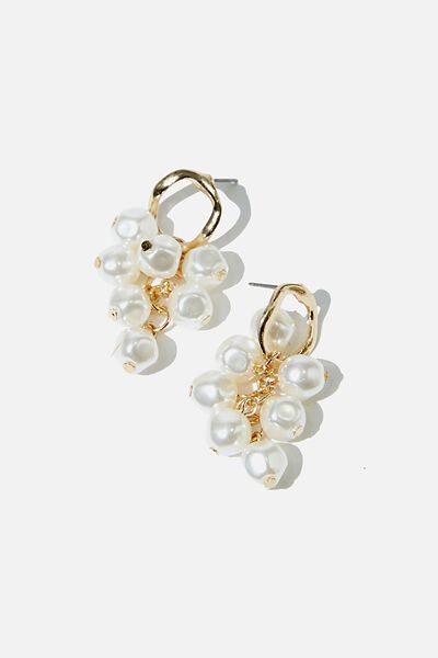 Beaded Drop Pearl And Gold Earring, GOLD/PEARL