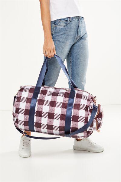 Athens Foldable Duffle Bag, WINE WHITE CHECK