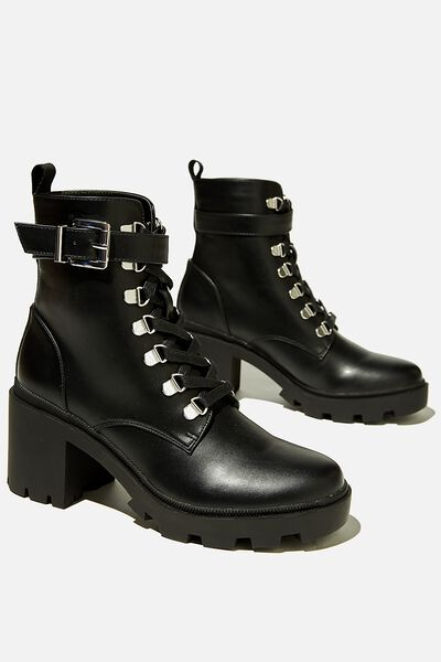 Ida Combat Lace Up Lug Sole Boot, BLACK SMOOTH