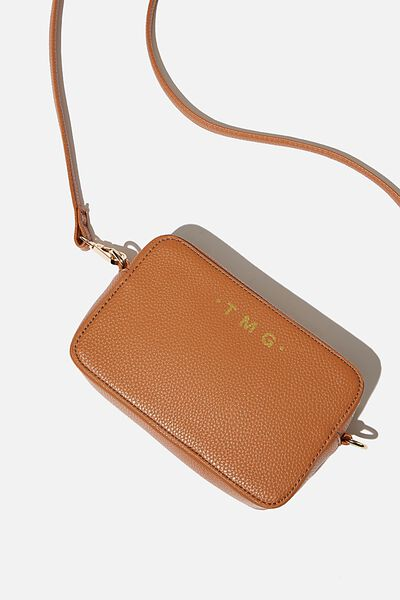 Personalised Stevie Boxy Cross Body Bag, TAN