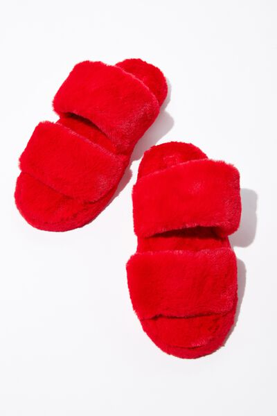 Double Strap Fluff Slipper, CHERRY RED