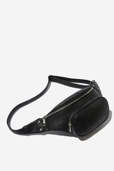 Casey Large Belt Bag, BLACK CROC