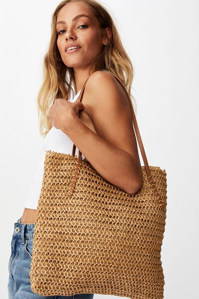 Woven Tote Bag, NATURAL
