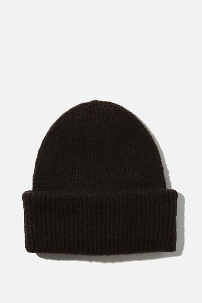 Racquel Ribbed Beanie, BLACK