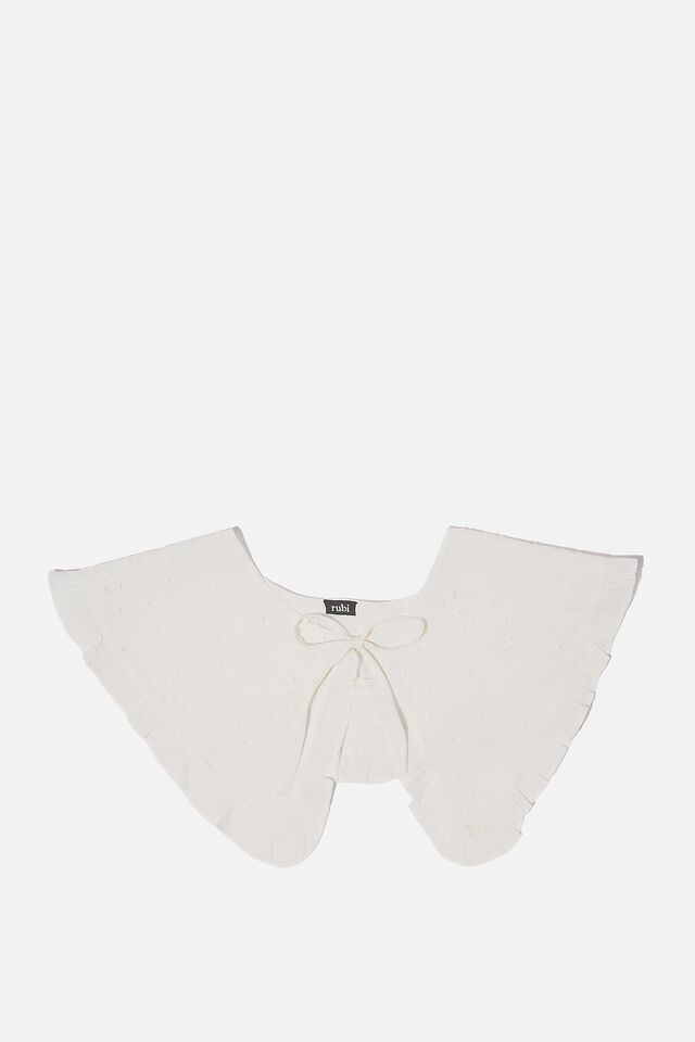 Piper Large Collar, WHITE BRODERIE