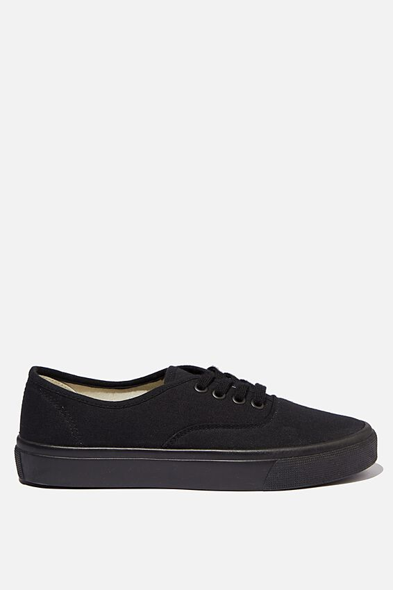 Jamie Lace Up Plimsoll, BLACK BLACK CANVAS