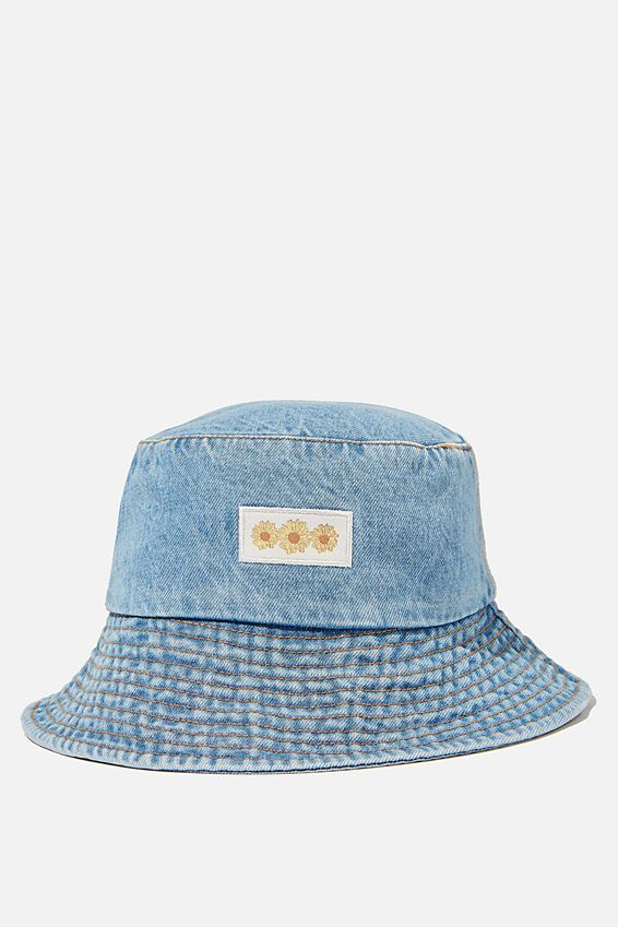 Bianca Bucket Hat, MID DENIM/SUNFLOWERS