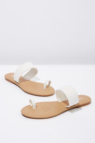 Everyday Toe Loop Slide, WHITE EMBOSSED PU