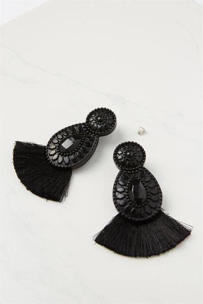 Baboshka Fan Tassel Statement Earring, BLACK