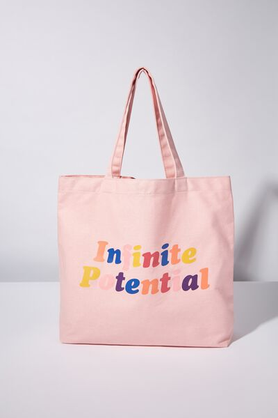 Minimalist Washed Tote, GIRL UP INFINITE POTENTIAL PINK