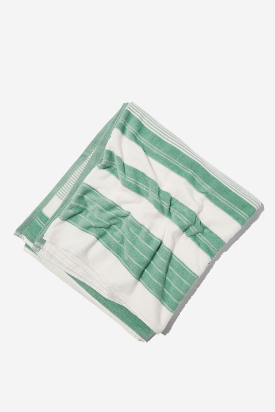 Bondi Rectangle Towel, GREEN POOLSIDE STRIPE