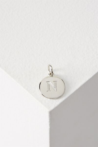 Letter Flat Pendant Charm, SILVER - N