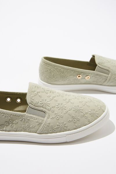 Holly Slip On, KHAKI BRODERIE