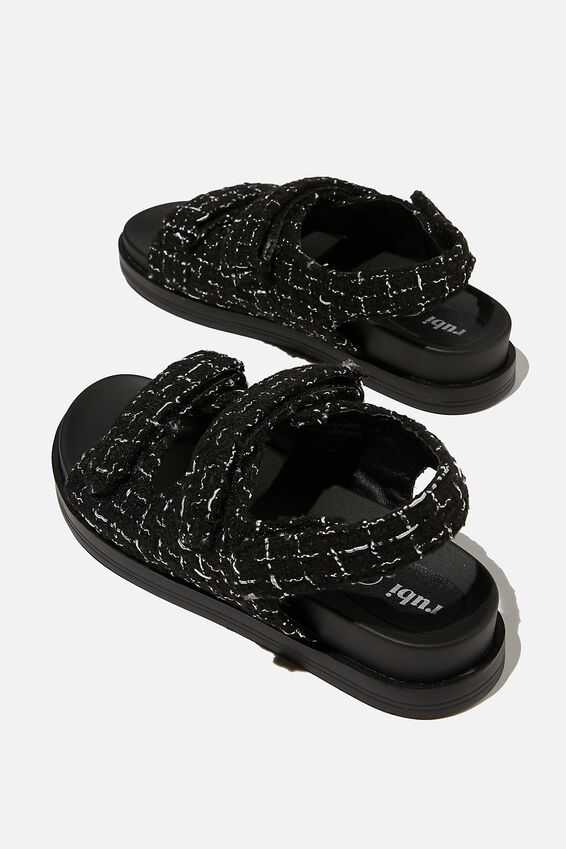 Taylor Velcro Sporty Sandal, BLACK CHECK TWEED