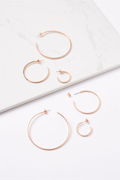 Renee Grad Hoop Pack, ROSE GOLD