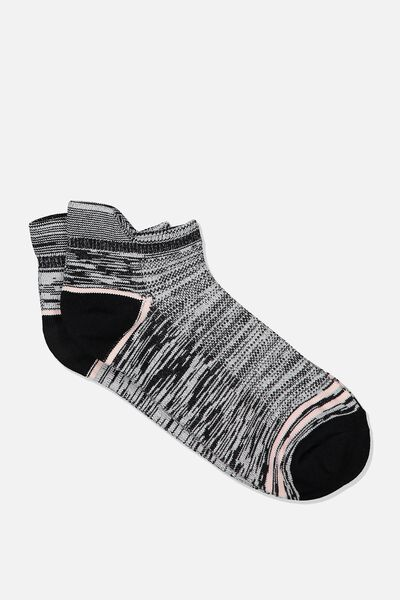 Mesh Ankle Tab Sock, GREY TWIST/PINK