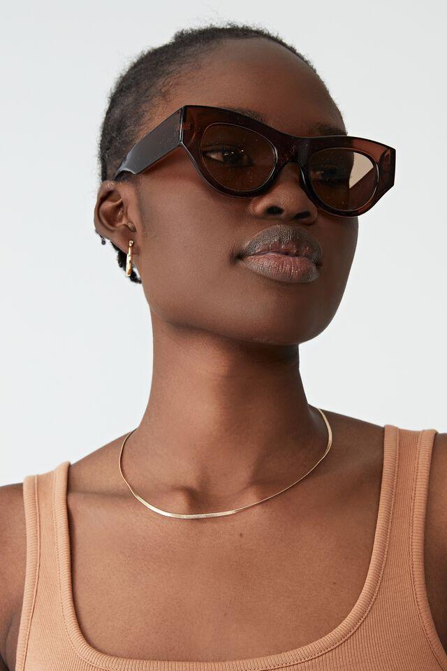 Grace Angular Sunglasses, CHOCOLATE CRYSTAL