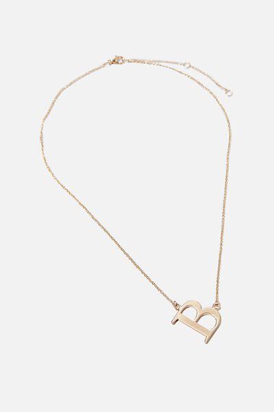 Tilted Letter Necklace, GOLD B