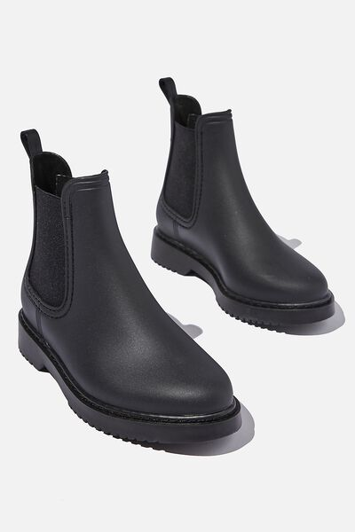 Camille Gusset Rain Boot, BLACK
