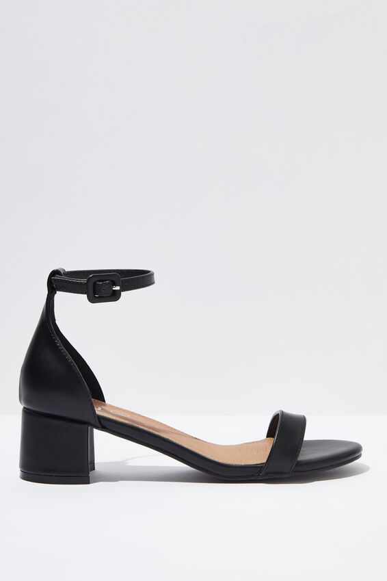 Lizzie Low Block Heel, BLACK SMOOTH
