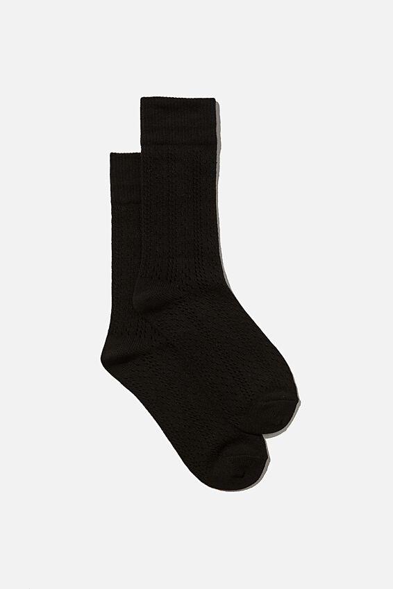 Heritage Knit Sock, BLACK