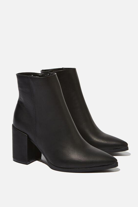 Amina Heeled Dress Boot, BLACK SMOOTH