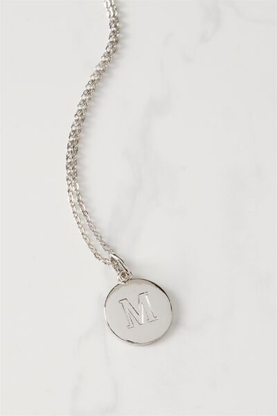 Letter Flat Pendant Necklace, SILVER - M