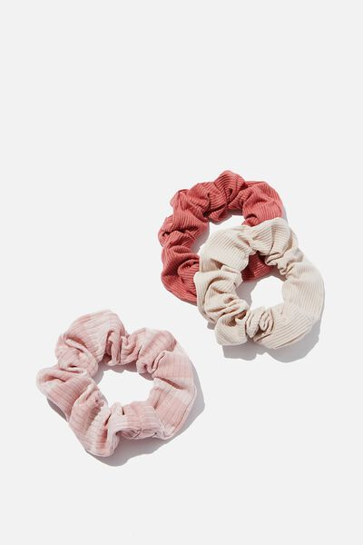 3Pk Scrunchies, BLUSH RIB TRIO