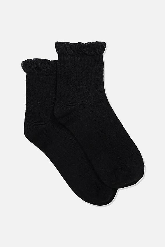 Fancy Quarter Crew Sock, BLACK POINTELLE