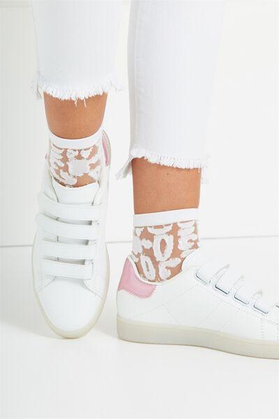 Sherry Sheer Sock, WHITE LEOPARD