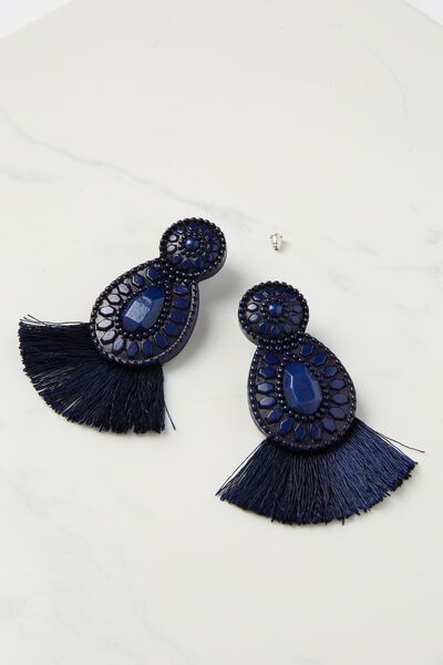 Baboshka Fan Tassel Statement Earring, NAVY