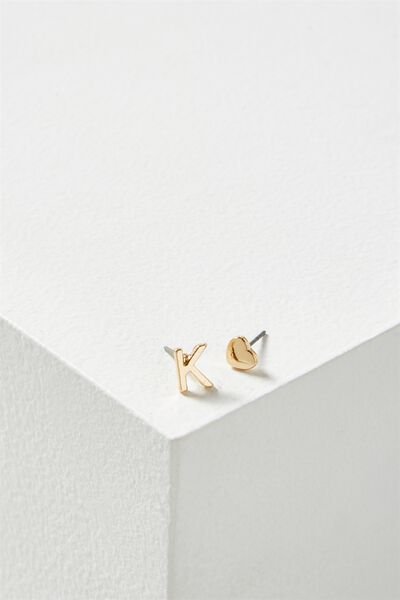Alpha Stud Earring, GOLD - K
