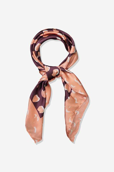 Fleur Large Satin Scarf, TERRA COTTA POPPY ANIMAL