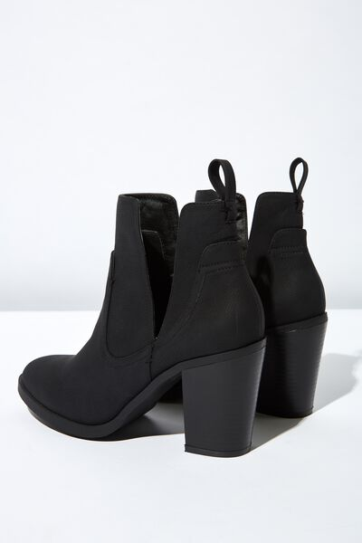 Nala Cut Out Boot, BLACK NUBUCK PU