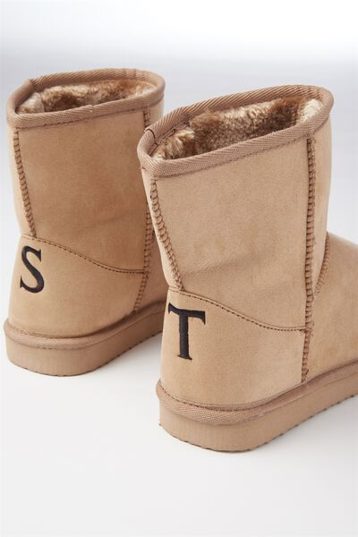 Personalised Short Home Boot, HONEY TAN
