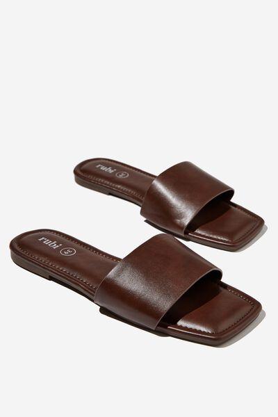 Everyday Hailey Single Vamp Slide, CHOCOLATE PU