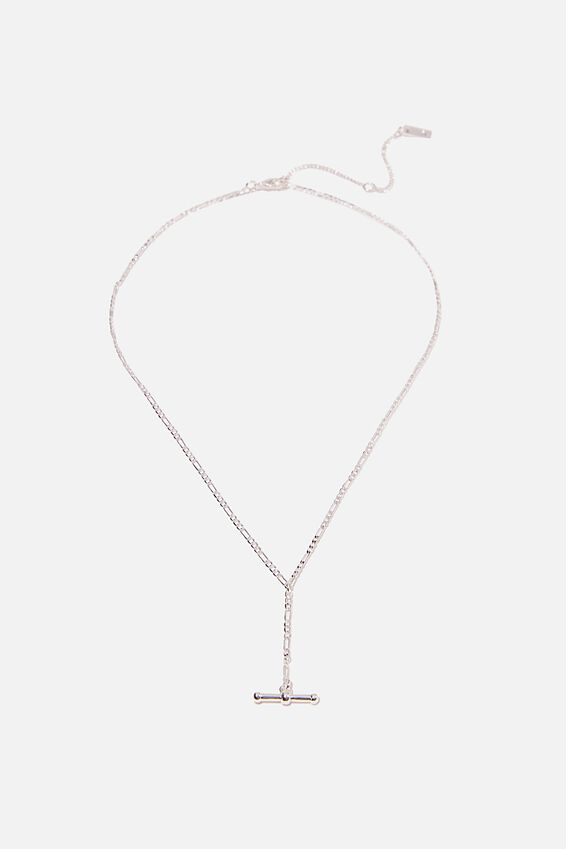 Premium Pendant Necklace, STERLING SILVER PLATED FOB LARIET
