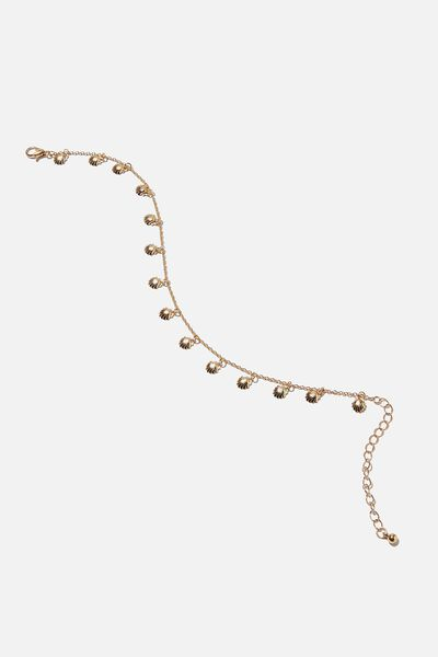 Carrie Chain Anklet, GOLD SHELL CHARM
