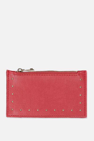 Sim Studded Coin/Card Holder, OXBLOOD STUDDED