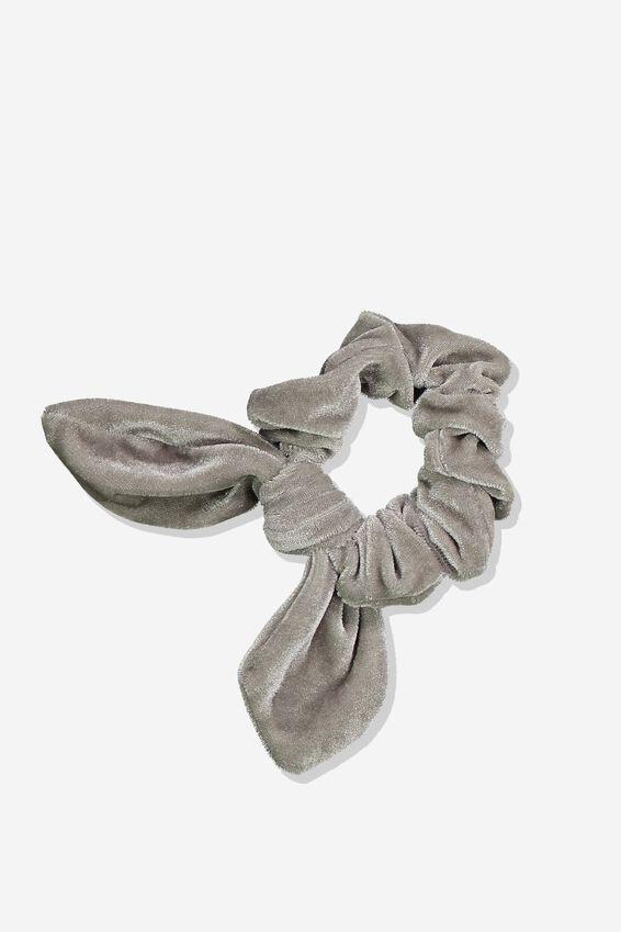 Tribecca Tie Scrunchie, GREY VELVET