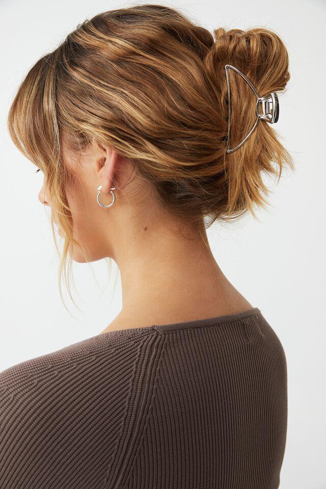 Metal Ashley Hair Claw, SILVER