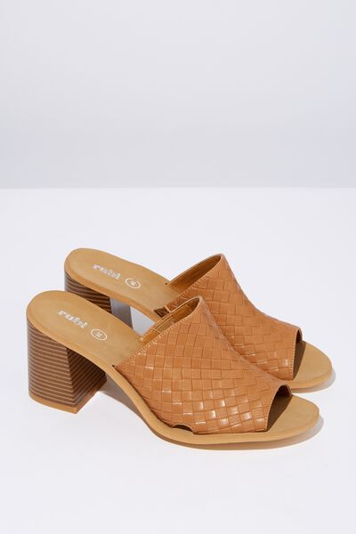 Gigi Mule Block Heel, TAN EMBOSSED PU